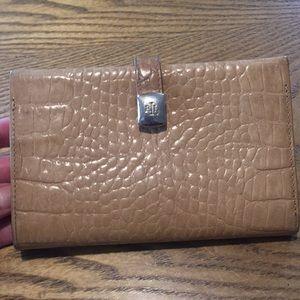 Ralph Lauren Tan Leather Crocodile Skin Wallet
